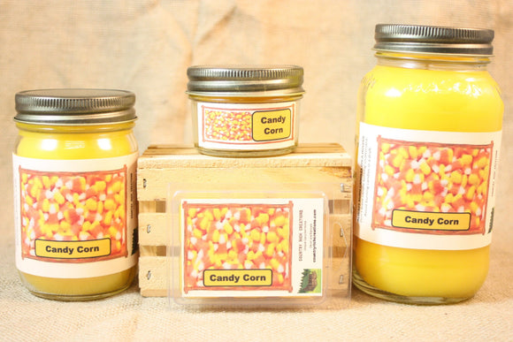 Candy Corn Candle and Wax Melts, Candy Scent Candle, Highly Scented Candles and Wax Tarts, Halloween Candle, Fall Scent, Mason Jar Candle - Country Rich Creations, LLC
