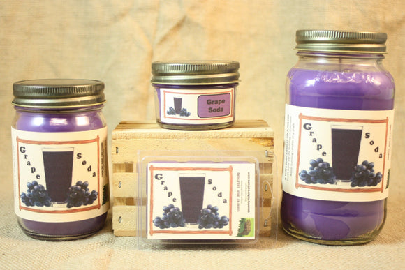 Grape Soda Scent Candles and Wax Melts, Beverage Scent Candle Wax, Highly Scented Candles and Wax Tarts, Fun Candle, Summertime Scent - Country Rich Creations, LLC