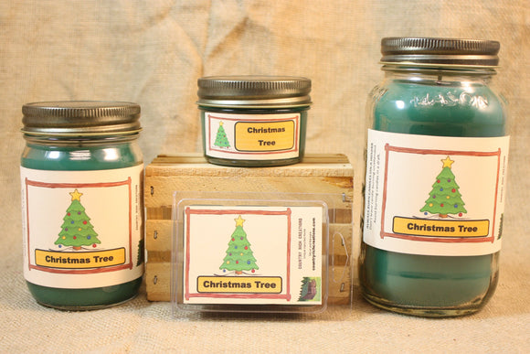 Christmas Tree Candle and Wax Melts, Holiday Scent Candle, Highly Scented Candles and Wax Tarts, Christmas Candle for Hostess Gift - Country Rich Creations, LLC