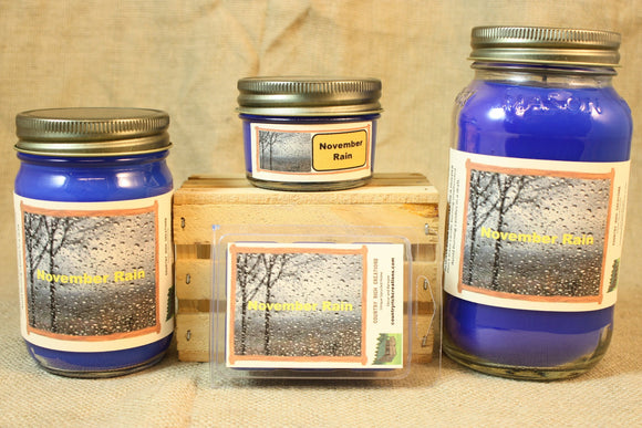 November Rain Scent Candles and Wax Melts, Nature Scent Candle Wax, Highly Scented Candles and Wax Tarts, Fall Scent Candle, Yankee Type - Country Rich Creations, LLC