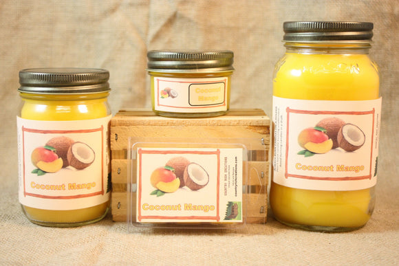 Coconut Mango Candle and Wax Melts, Fruit Scent Candle, Highly Scented Candles and Wax Tarts, Mason Jar Candle - Country Rich Creations, LLC