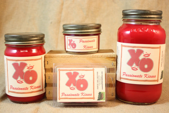 Passionate Kisses Scented Candles and Wax Melts, Highly Scented Candles and Wax Tarts, 26 oz, 12 oz, 4 oz Jar Candles or 3.5 Clam Shell Wax Melts - Country Rich Creations, LLC