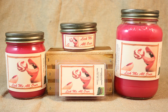 Lick Me All Over Candle and Wax Melts, Highly Scented Candles and Wax Tarts, Valentine Candle, Mason Jar Candle, Gift for Her - Country Rich Creations, LLC