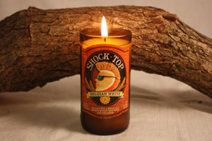 Beer Bottle Candle Upcycled from Shock Top Beer Bottle, Highly Scented with Your Choice of Scent, Beer Lover Gift, Candle Decor, Bar Decor - Country Rich Creations, LLC