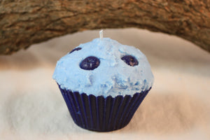 Cupcake Candles, Jumbo Blueberry Cupcake Candle, Fake Food - Country Rich Creations, LLC