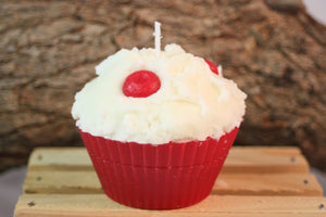 Cupcake Candles, Jumbo Cherry Cupcake Candle, Fake Food - Country Rich Creations, LLC