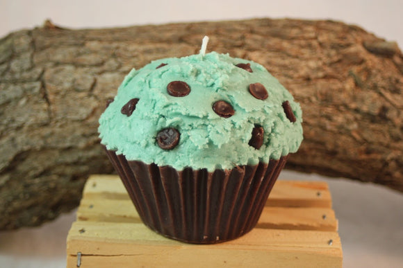 Cupcake Candles, Jumbo Mint-Chocolate Chip Cupcake Candle, Fake Food - Country Rich Creations, LLC