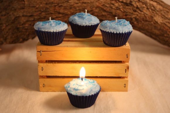 Cupcake Candles, Mini Blueberry Cupcake Candle, Fake Food - Country Rich Creations, LLC