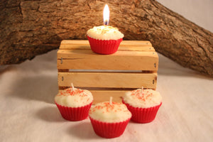 Cupcake Candles, Mini Cherry Cupcake Candle, Fake Food - Country Rich Creations, LLC