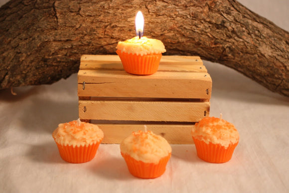 Cupcake Candles, Mini Orange Cupcake Candle, Fake Food - Country Rich Creations, LLC