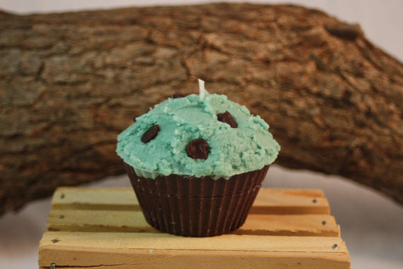 Cupcake Candles, Mint-Chocolate Chip Cupcake Candle, Fake Food - Country Rich Creations, LLC
