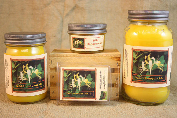 Wild Honeysuckle BBW Type Scented Candle,  Wild Honeysuckle BBW Type Scented Wax Tarts, 26 oz, 12 oz, 4 oz Jar Candles or 3.5  Wax Melts - Country Rich Creations, LLC