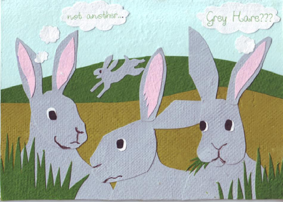 Another Grey Hare card - Stationery - Eighteen Rabbit Fair Trade