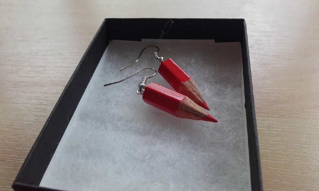 Colouring Book Pencil Earrings - Jewellery - Eighteen Rabbit Fair Trade  - 4