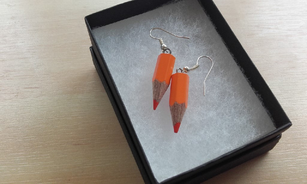 Colouring Book Pencil Earrings - Jewellery - Eighteen Rabbit Fair Trade  - 5