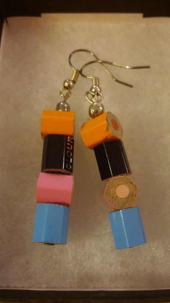 Colouring Book Chopped Earrings - Jewellery - Eighteen Rabbit Fair Trade