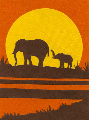 Elephants at Sunrise card - Stationery - Eighteen Rabbit Fair Trade