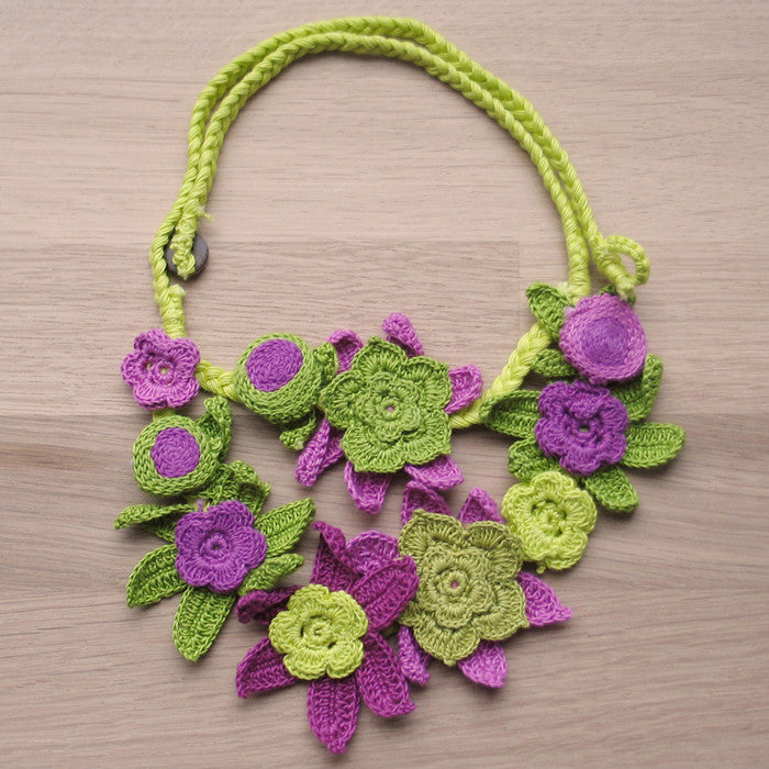 Crocheted flowers necklace - Jewellery - Eighteen Rabbit Fair Trade  - 5