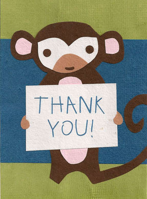 Monkey Thanks card - Stationery - Eighteen Rabbit Fair Trade