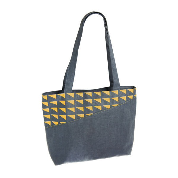 Geometric Linen tote bag - Accessories - Eighteen Rabbit Fair Trade  - 3