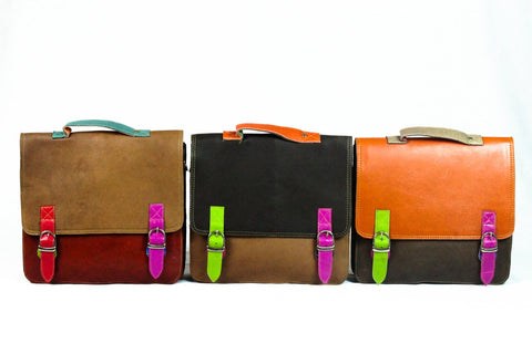 Recycled leather messenger with straps - Accessories - Eighteen Rabbit Fair Trade  - 1