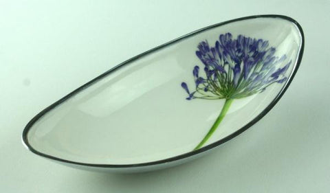 Agapanthus Recycled Aluminium Long Bowl - Homeware - Eighteen Rabbit Fair Trade  - 1