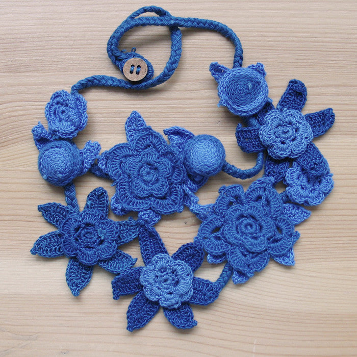 Crocheted flowers necklace - Jewellery - Eighteen Rabbit Fair Trade  - 3