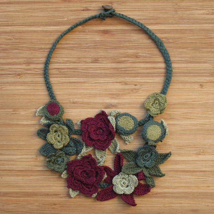 Crocheted flowers necklace - Jewellery - Eighteen Rabbit Fair Trade  - 1