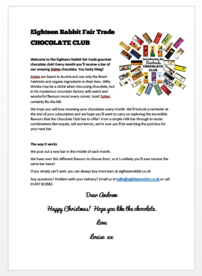 The Chocolate Club - Chocolate - Eighteen Rabbit Fair Trade  - 3