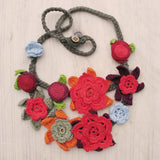 Crocheted flowers necklace - Jewellery - Eighteen Rabbit Fair Trade  - 2
