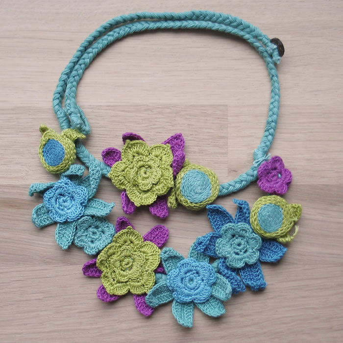 Crocheted flowers necklace - Jewellery - Eighteen Rabbit Fair Trade  - 4