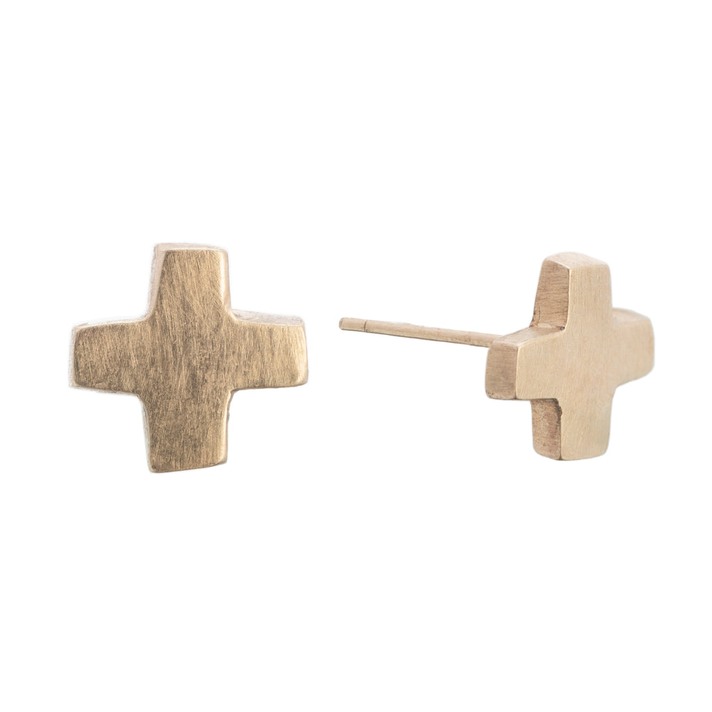 Small gold cross earrings