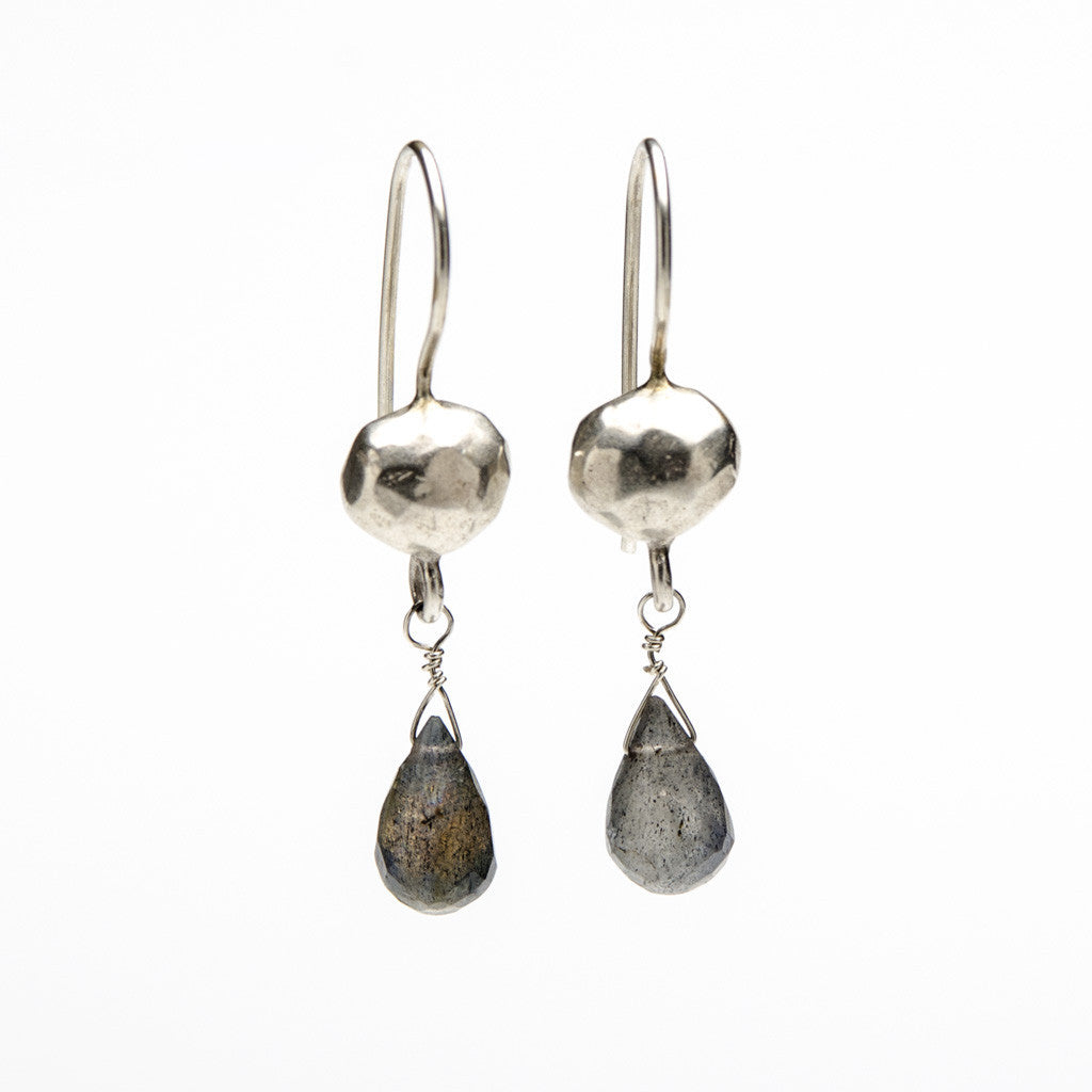 Modern rustic earrings with briolette