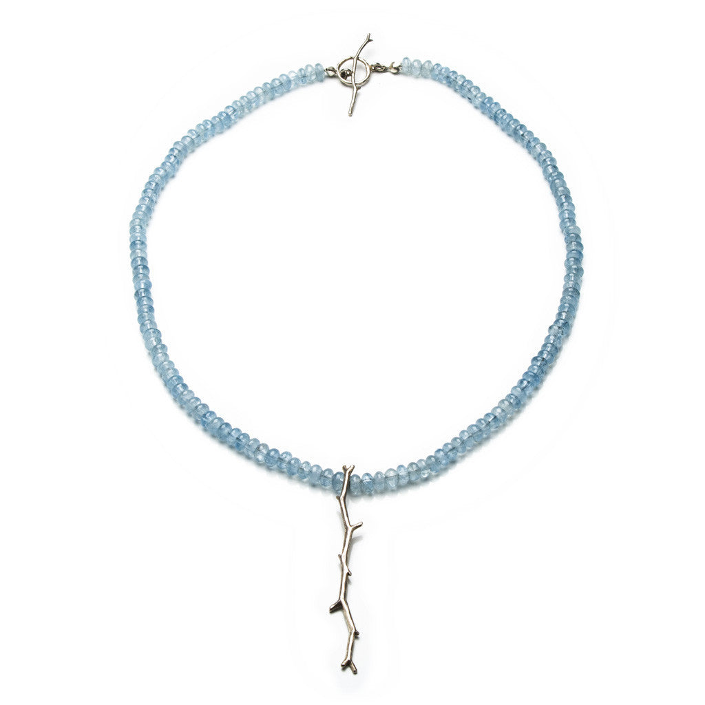 Twig aquamarine necklace