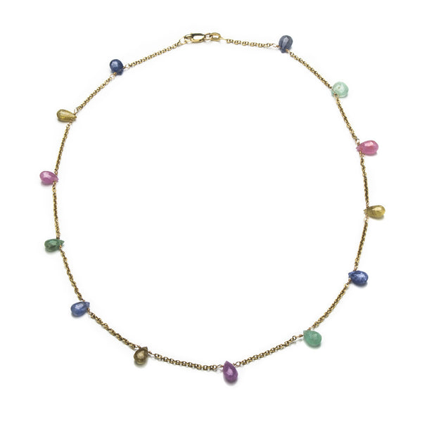 Multi sapphire and gold necklace