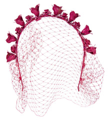 Exclusive! Jennifer Behr Magenta Rose Crown with Veil