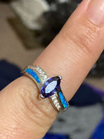 Silver lab blue opal ring