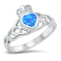 Blue Opal Silver Lab Claddagh Ring