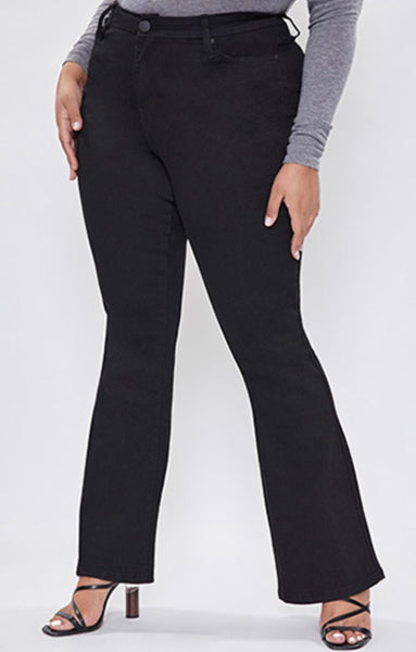 Curvy black denim flare