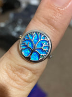 Tree of life blue opal ring