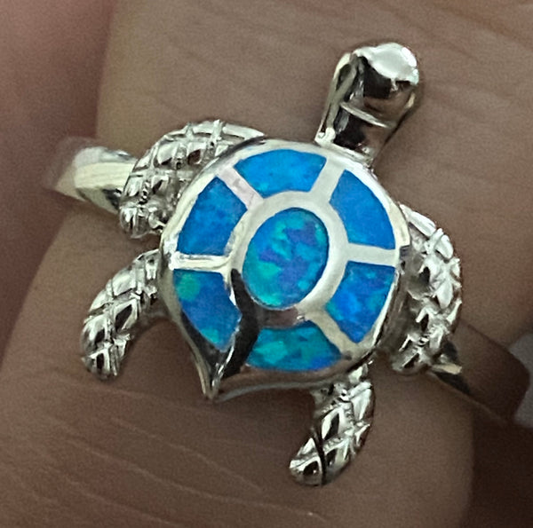 Silver lab blue opal sea turtle ring