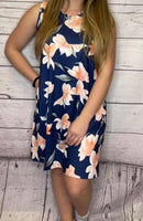 Peach Floral Navy Pocket Dress