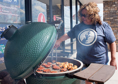 Stephanie Wilson Grilling Burgers and Wings