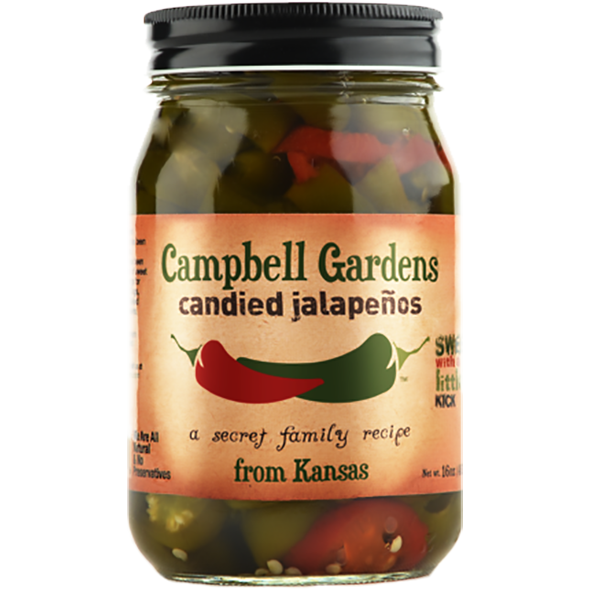 Campbell Gardens Candied Jalapeños with Habaneros  16 oz. - The Kansas City BBQ Store
