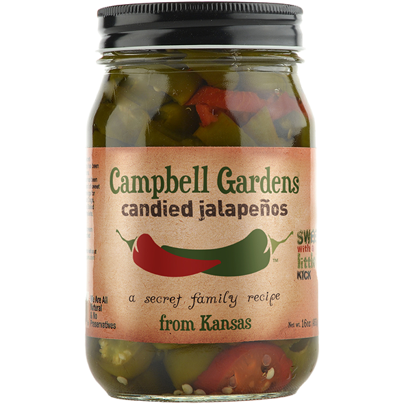 Campbell Gardens Candied Jalapeños 16 oz. - The Kansas City BBQ Store