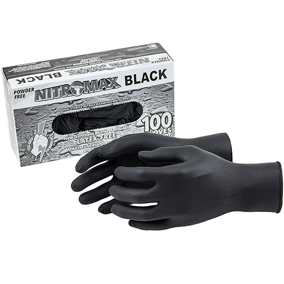 NitroMax Black Nitrile Gloves 100 ct - The Kansas City BBQ Store