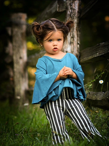 Boho Bell Bottoms - Charcoal and White Stripe