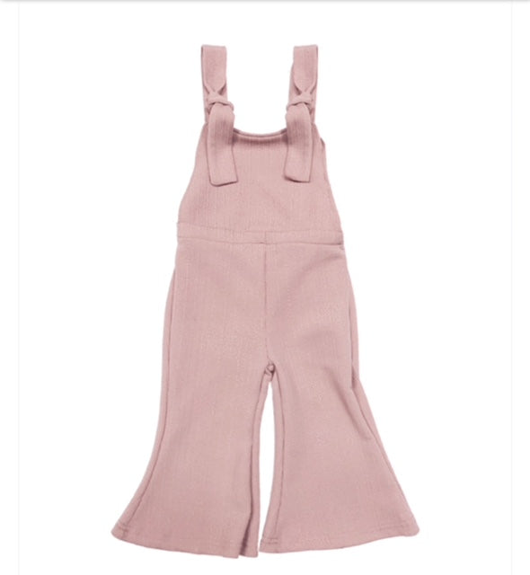 Suspender Bell Bottom Jumpsuit - Mauve