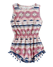 Load image into Gallery viewer, Pink Aztec Pom Pom Romper