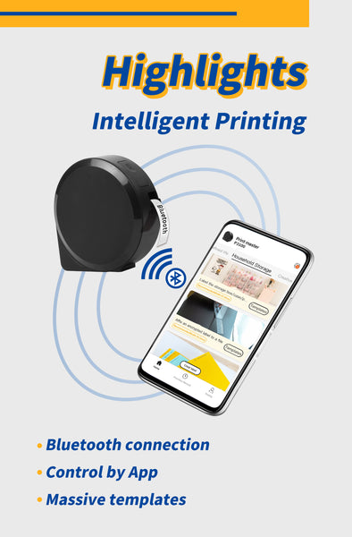 Multiple Templates Available-Black Portable Thermal Label Printer with Bluetooth Smartphone Connectivity Phomemo P3100 Versatile Label Maker Machine